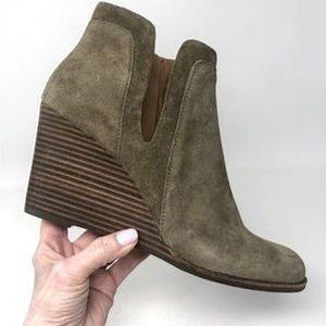 Lucky Brand Yabba Wedge Antique Green Booties